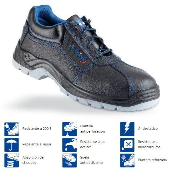 Zapato piel negra Seguridad S3 Tarraco